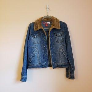 Jackets & Blazers - Vintage Inspired Faux Trim Jean Denim Jacket Sze S